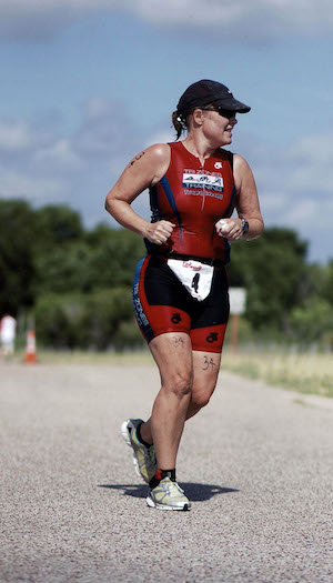 Triathlete during the run portion of the Varsity Triathlon.