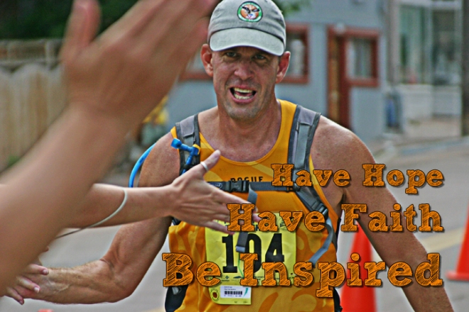 Dan Keitz, runner, finishing Pikes Peak Marathon.