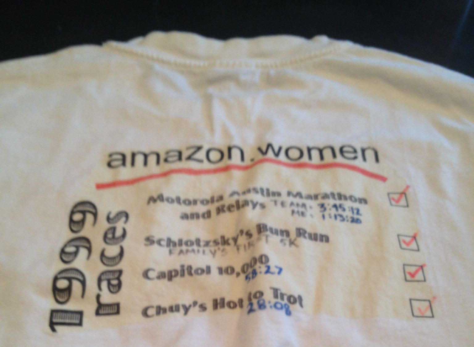 Photo of hand made t-shirt from 199 with four races and team name Amazon.women