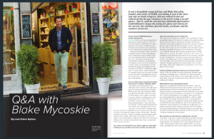 magazine article with TOMS founder Blake Mycoskie shown at coffee shop