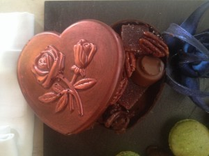 Heart-shaped box made out of chocolate