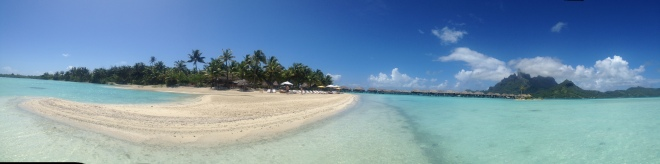 View of Bora Bora beach from water