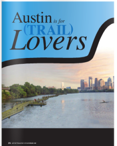 Image of downtown Austin over lake with title