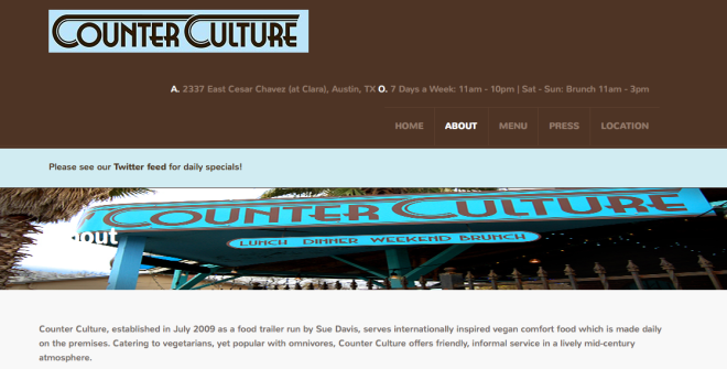 Counter Culture restaurant website