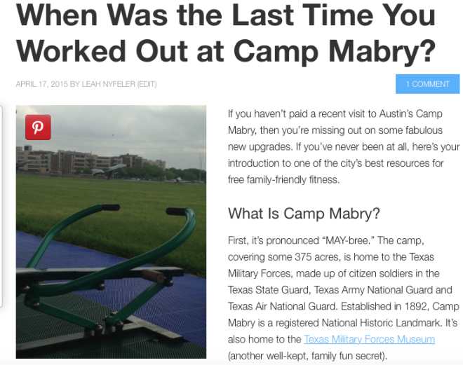 Image of article about working out at Camp Mabry