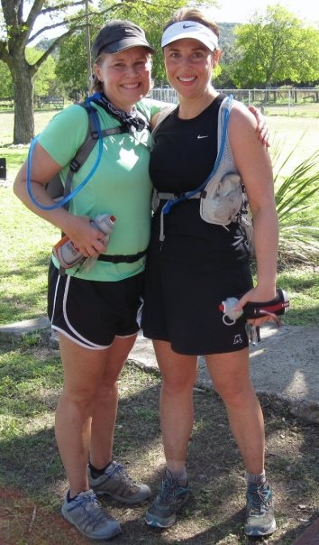 Leah and Marcia at the finish of the Cactus Rose 100 Miler