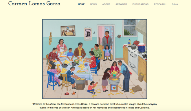 Screenshot of Carmen Lomas Garza's website and painting Tamalada