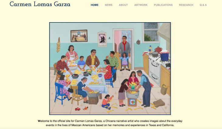 Screenshot of Carmen Lomas Garza's website and painting Tamalada