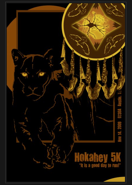 Hokahey 5K poster with black panther, eagles, and shoes hanging from bandanas