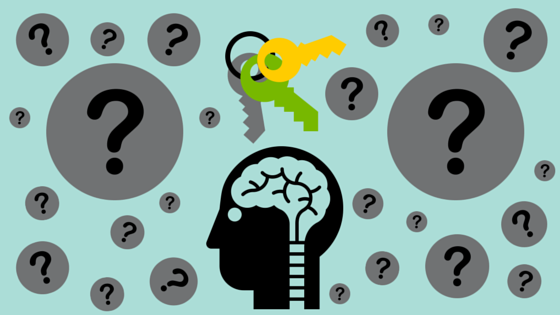 Iconic image of head with brain surrounded by questions marks and a key ring.