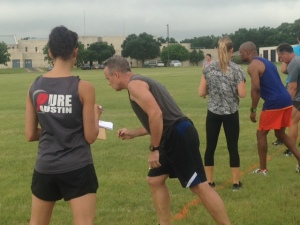 Man taking off to run on fitness event