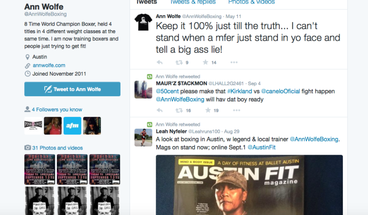 Screenshot of Twitter page for Ann Wolfe, boxer
