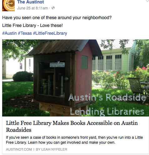 Screenshot of Austinot article on Little Free Library