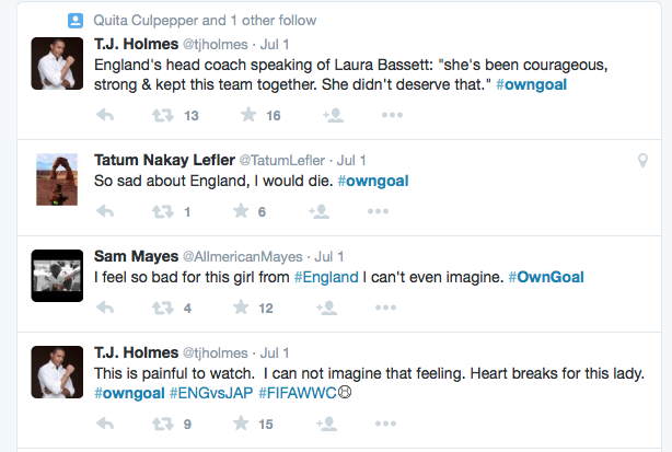 Tweets posted about England's own goal against Japan, 2015 World Cup