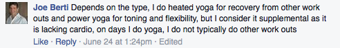 Screenshot of Facebook post about using yoga as supplement