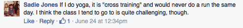 Screenshot of Facebook comment about yoga as supplemental.
