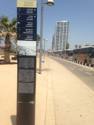 Information sign on Tel Aviv's promenade.
