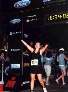Leah Nyfeler finishes Ironman Coeur d'Alene.