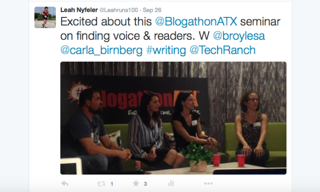Tweet about panel at BlogathonATX