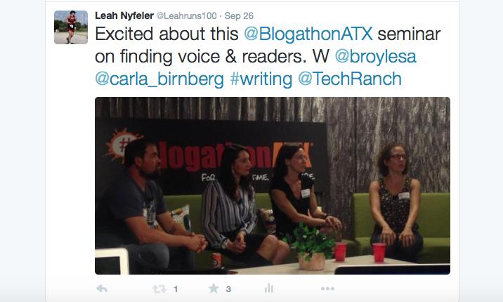 Tweet about panel at BlogathonATX