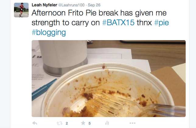 Screenshot of Tweet about Frito Pie at BlogathonATX