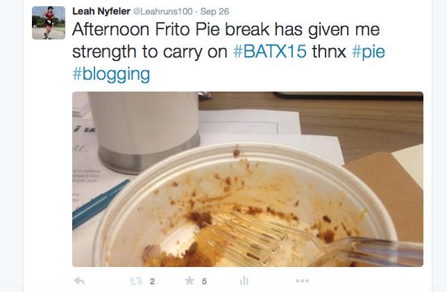 Screenshot of Tweet about Frito Pie at BlogathonATX