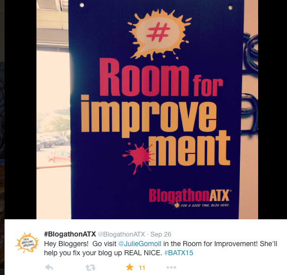 Screenshot of sign at BlogathonATX for Room for Improvement