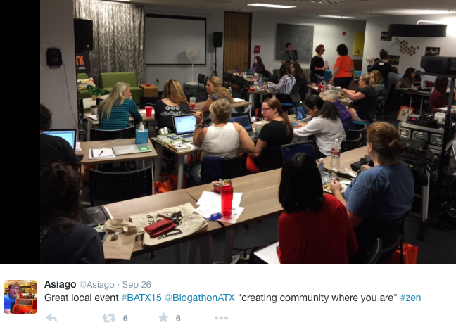 Tweet of room at BlogathonATX