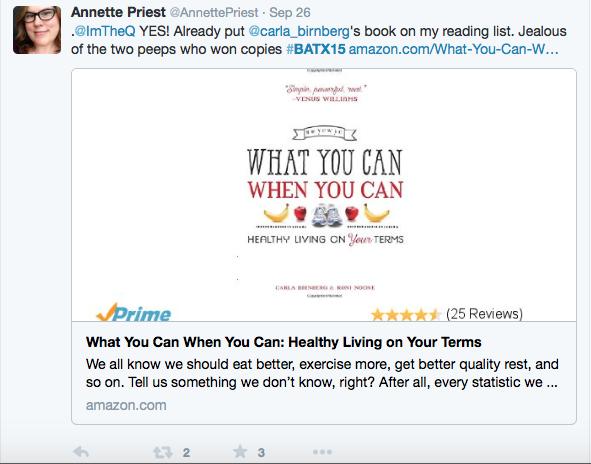 Tweet from BlogathonATX about Carla Birnberg's book