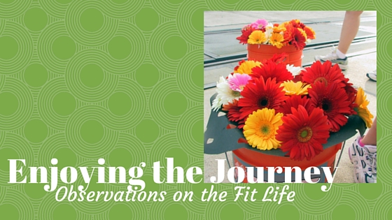 Title page for Enjoying the Journey with bucket of flowers
