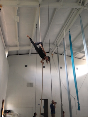 Aerial silks dancer for Blue Lapis Light practices.