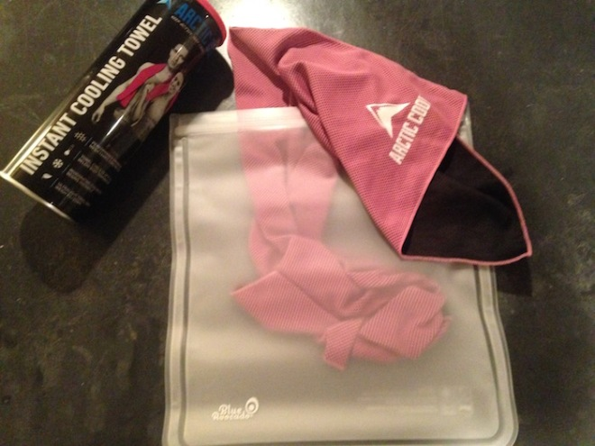 Cooling towel with resealable bag.