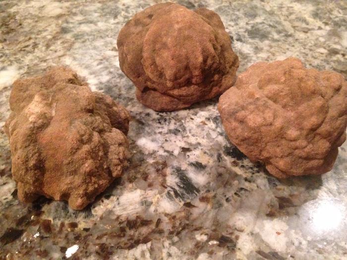 Three barite rose rocks.