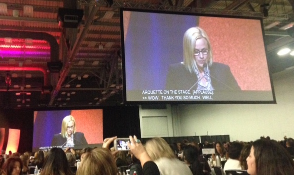 Patricia Arquette giving speech at Texas Conference for Women