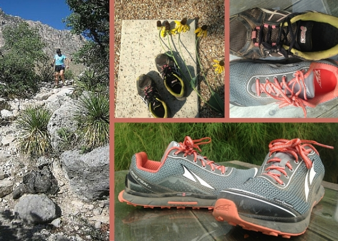 Montage of trail running shoes.