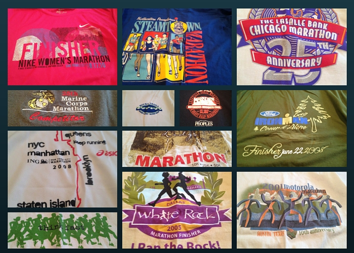 Image of T-shirts from various marathons.