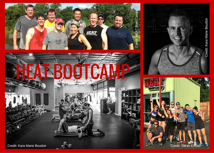 Photo collage of Austin gym HEAT Bootcamp members and locations.
