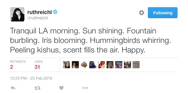 Ruth Reichl Tweet