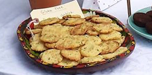 Plate of gluten free Rosemary Refrigerator cookies.