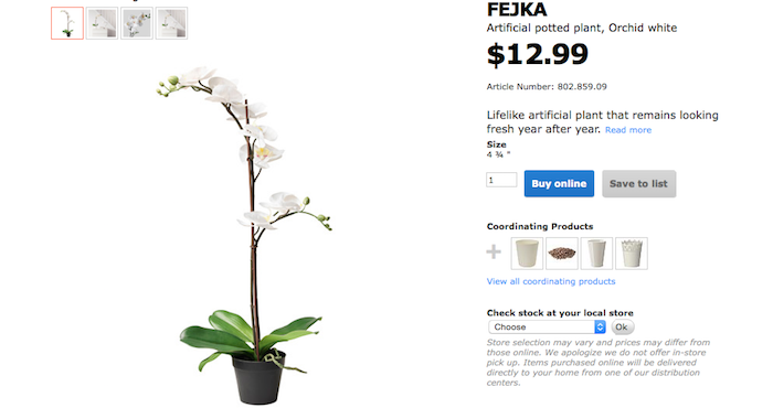 Screenshot of Ikea Fejka artificial potted white orchid plant.