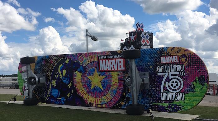 Giant Marvel skateboard at X Games Austin 2016.