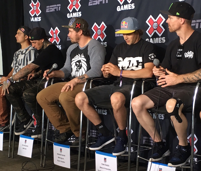 X Games Austin competitors Kyle Baldock, Morgan Wade, and Tom Pages at 2016 press conference.