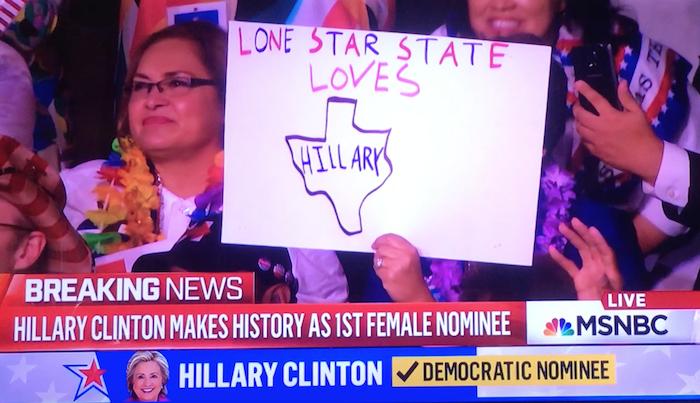 Screenshot of Texas delegation at 2016 DNC roll call.