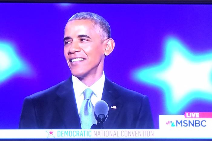 President Obama addressing the 2016 DNC.