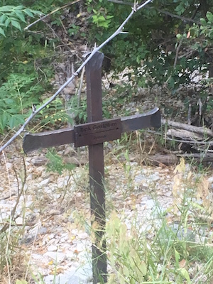 Cross on the Barton Creek Greenbelt in Austin, TX, marking the spot where Rick Gastelum's body was found.