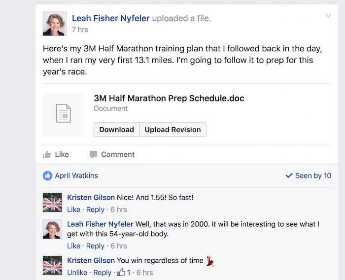Screenshot of Facebook chat regarding participation in 2017 3M Half Marathon.