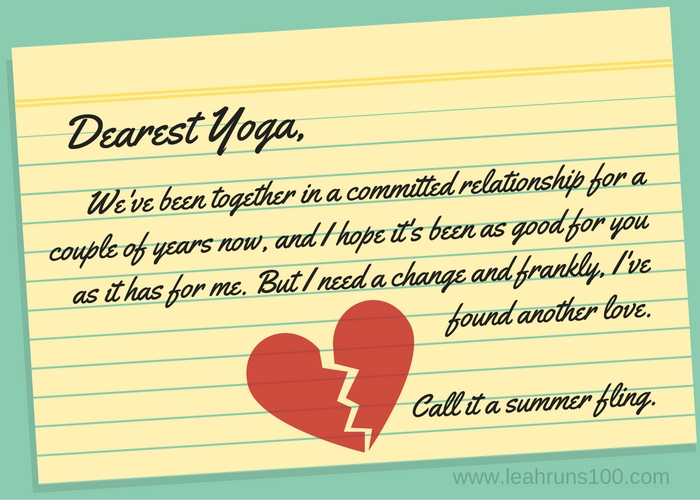 Letter written to yoga class announcing a new love with a broken heart.