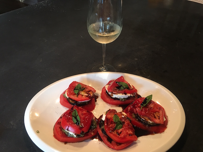 Eggplant stacks with tomato, mozzarella and pesto from The Vegetable Butcher.