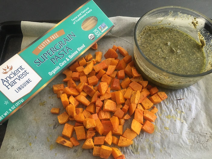 Gluten free pasta, roasted butternut squash, and walnut-basil pesto.