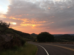 Sunrise view on road from McDonald Observatory in Davis Mountains.